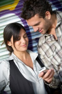 Young adults with mobile phone