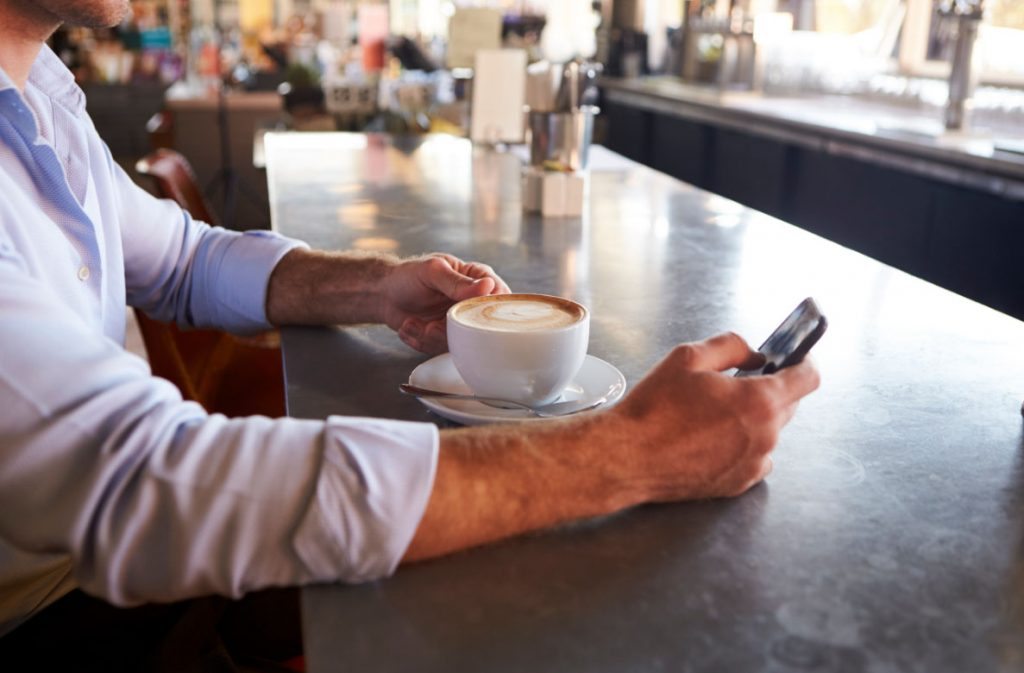 Man checking dating app